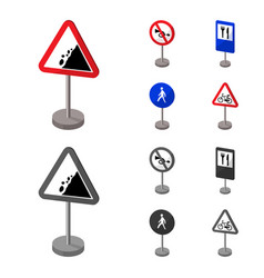 Different types of road signs cartoonmonochrome vector