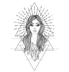 Divine goddess black and white girl over sacred vector
