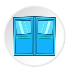 Double door for restaurant icon cartoon style vector