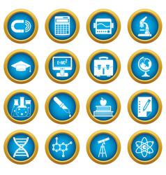education icons blue circle set vector image