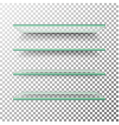 Empty glass shelves template set alike vector