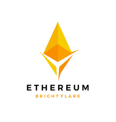 ethereum bright cryptocurrency blockchain crypto vector image