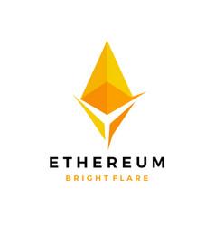 ethereum bright cryptocurrency blockchain crypto vector image
