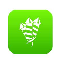 firecrackers icon digital green vector image