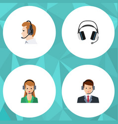 flat call set of secretary earphone hotline and vector image