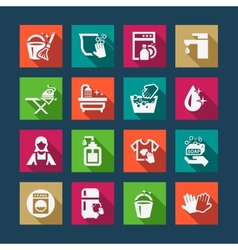 Flat cleaning icons vector