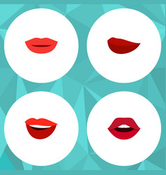 flat icon mouth set of kiss lipstick teeth and vector image