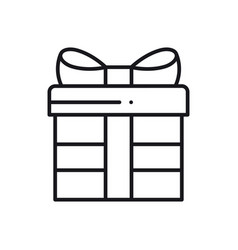 gift box with ribbon line icon present giftbox vector image