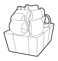 Gift icon outline style vector