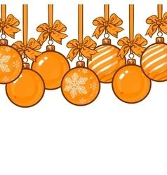 Gold Christmas balls with ribbon and bows vector