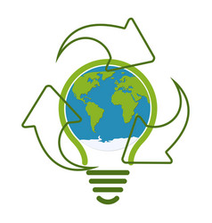 green eco recycle light bulb icon vector image