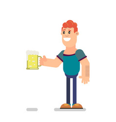 guy is drinking beer vector image
