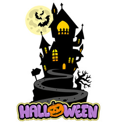 halloween sign with house on hill vector image