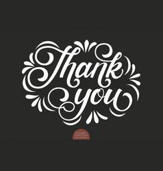 Hand drawn lettering thank you with floral vector