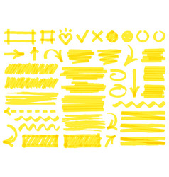 hand drawn marker strokes yellow marker stroke vector image