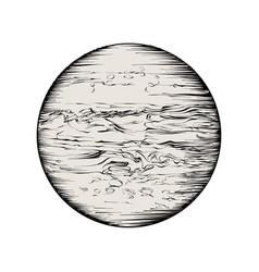 Hand drawn sketch of jupiter in black isolated on vector