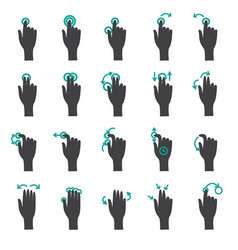 hand touch gestures flat icon set vector image