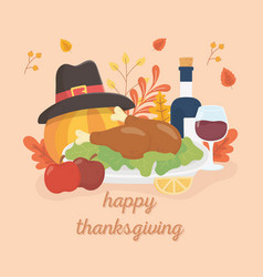 happy thanksgiving roasted turkey wine apples vector image