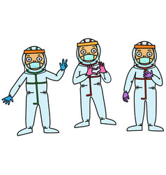 health professionals in protective gear vector image