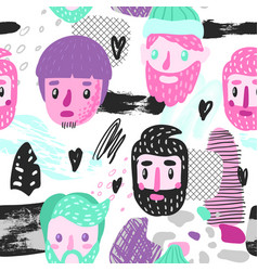 Hipster seamless pattern with funny men faces vector
