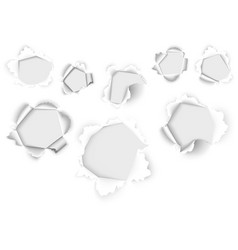 holes in the white paper vector image