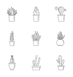 Home cactus pot icon set outline style vector