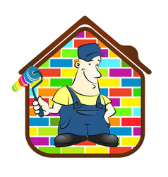 House painter with roller and a paint vector