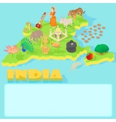India map cartoon style vector