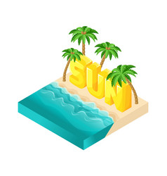 isometric people 3d girl in bathing suits beach vector image