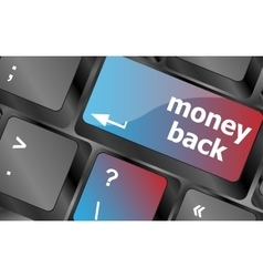 Keyboard keys with money back text on button vector