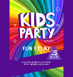 Kids party letter sign poster cartoon letters and vector