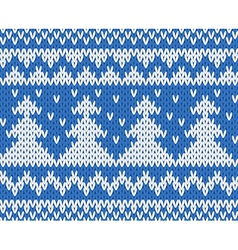 Knitted seamless pattern with fir-trees blue vector image