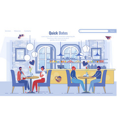 Landing page inviting to quick dates at cafeteria vector