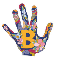 Letter b in hand vector