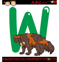 Letter w for wolverine cartoon vector
