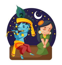 Lord krishna and radha vector