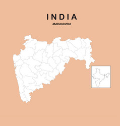 Maharashtra map without name district all vector