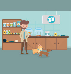man with her dog in veterinarian consultation vector image