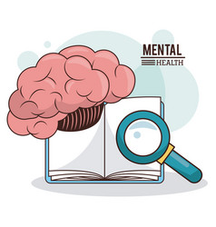 Mental health brain book magnifier knowledge vector