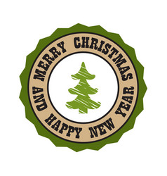 merry christmas and happy new year ssticker tree vector image