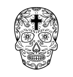 mexican sugar skull design element for poster vector image