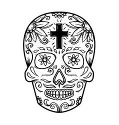 Mexican sugar skull design element for poster vector