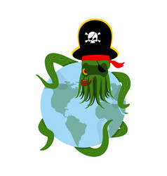Octopus pirate and earth poulpe buccaneer and vector