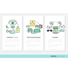 Optician Thin Line Brochures and Business Cards vector