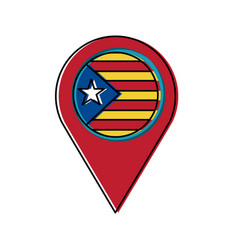 Pin map catalonia flag location concept vector