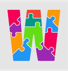 puzzle piece letter - w jigsaw font shape vector image