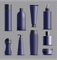 realistic male cosmetic packagings set vector image