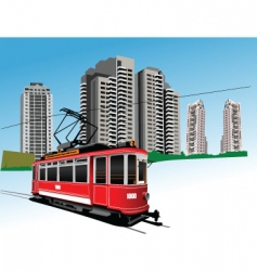 red tram vector image