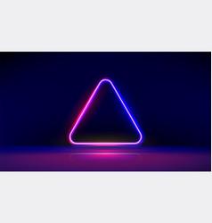 Round corner neon glowing triangle vector