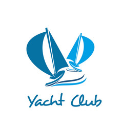Sailing ship or boat icon for yacht club design vector